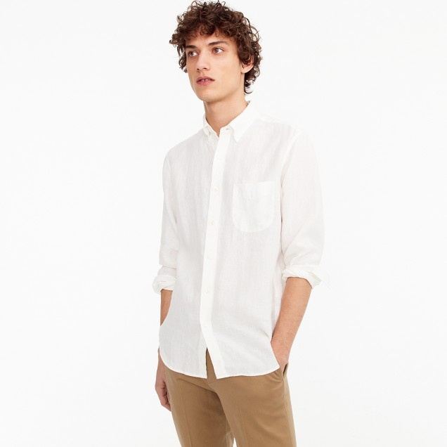 Slim Irish linen shirt in solid
