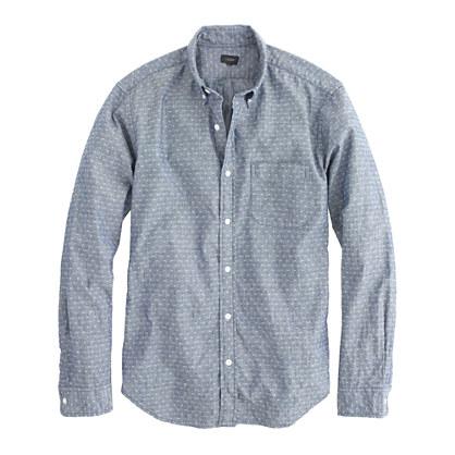 Slim chambray shirt in diamond dot