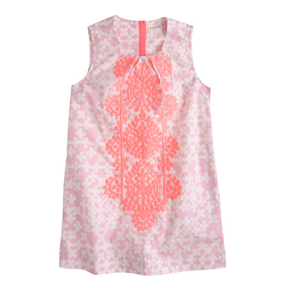 Girls' embroidered clover print dress