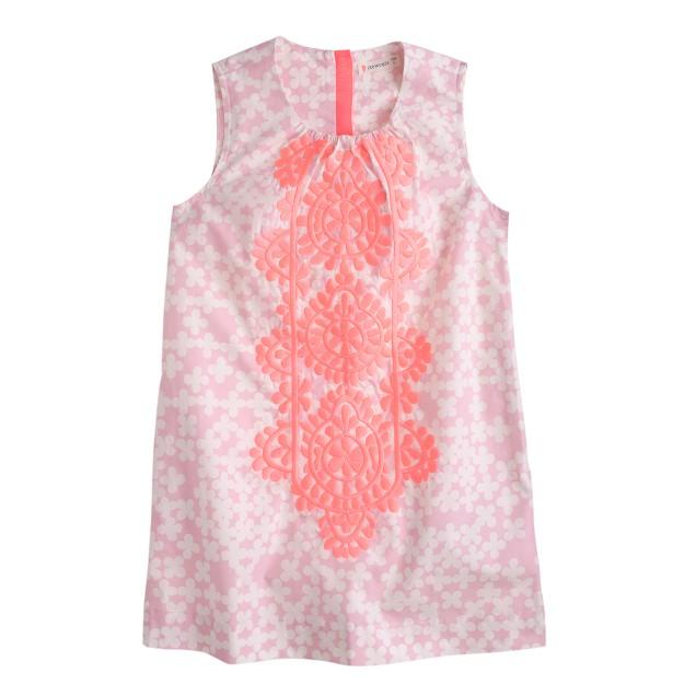 Girls' embroidered clover print dress