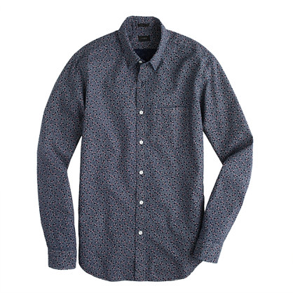 Slim cotton shirt in indigo floral