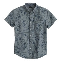 Chambray short-sleeve shirt in nautical rope print