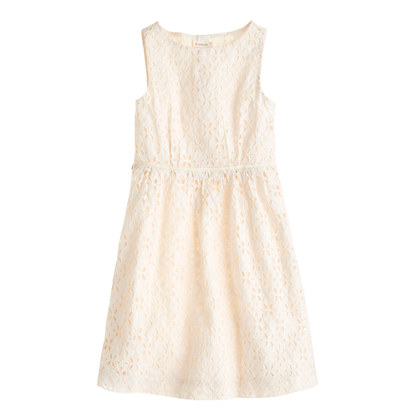 Girls' button-back eyelet dress