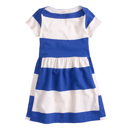 Girls' stripe boatneck dress