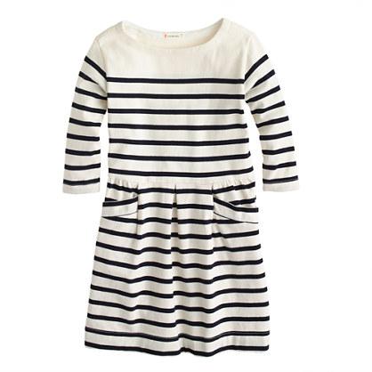 Girls' stripe pocket dress