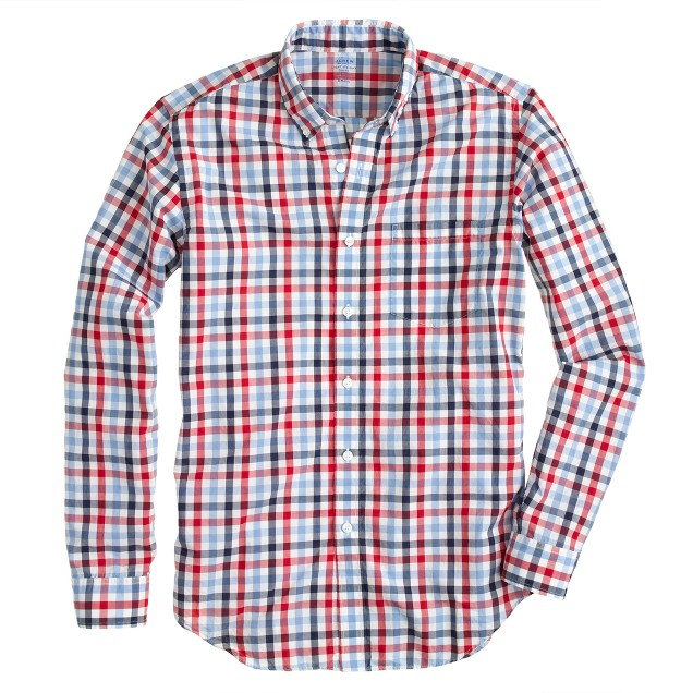 Lightweight shirt in dark poppy check
