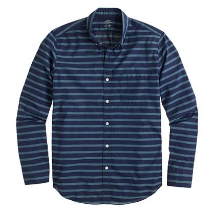 Lightweight shirt in coastline aqua stripe