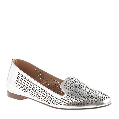 Cleo perforated mirror metallic loafers