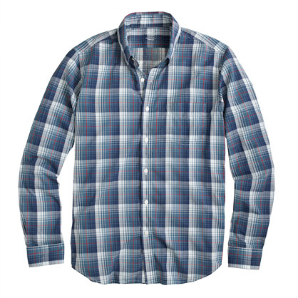 Lightweight chambray shirt in Atlantic ocean plaid