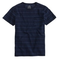 Indigo piqué stripe pocket T-shirt