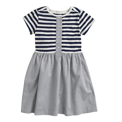 Girls' stripe oxford henley dress