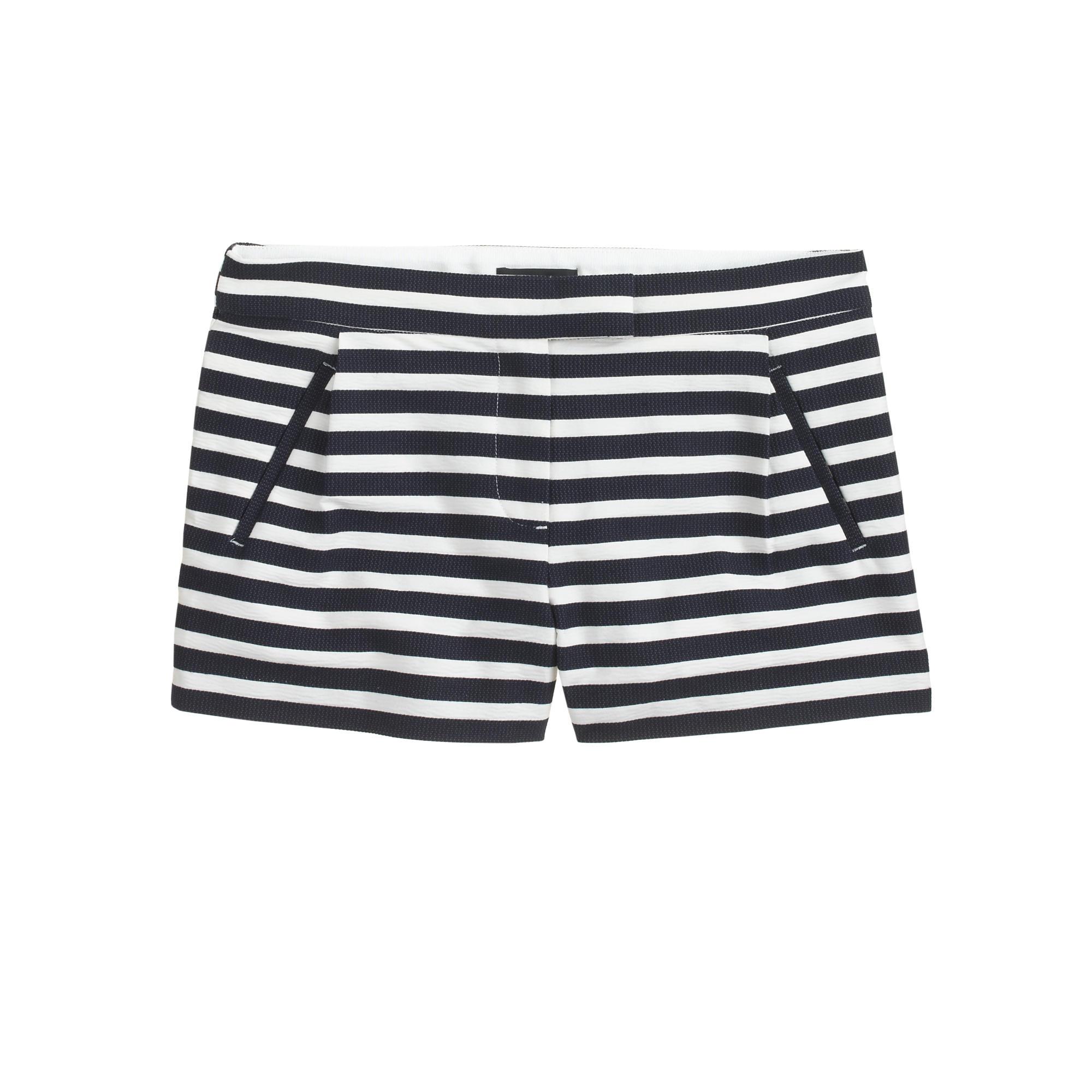 Textured stripe short in navy : Women novelty   J.Crew