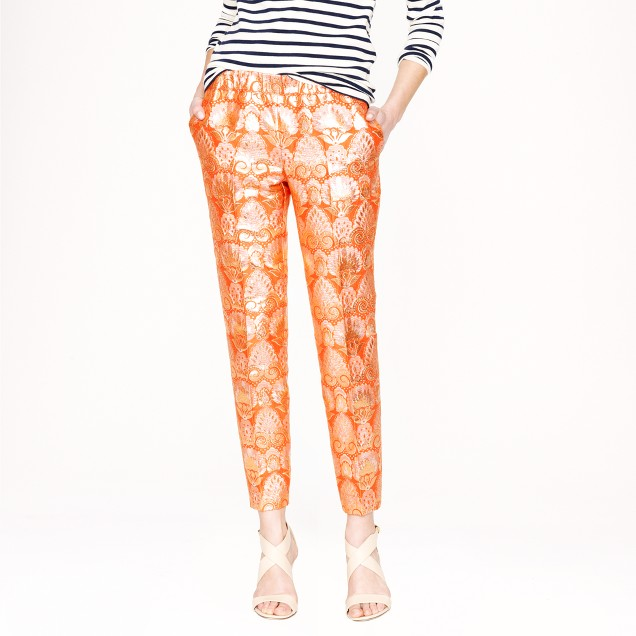 Collection cropped pant in gilded brocade