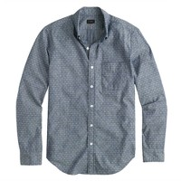 Slim chambray shirt in diamond dot