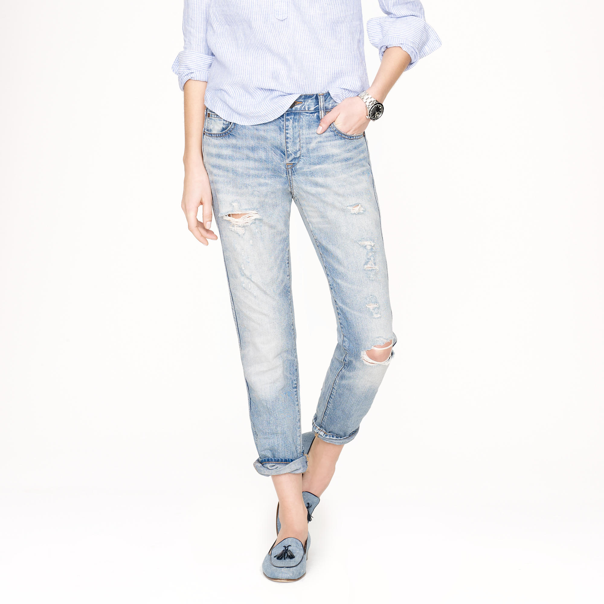 Destroyed broken-in boyfriend jean in light roxy wash : | J.Crew