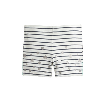 Girls' tumble short in floral stripe