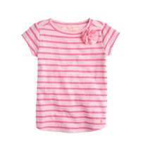 Girls' corsage T-shirt in pink stripe