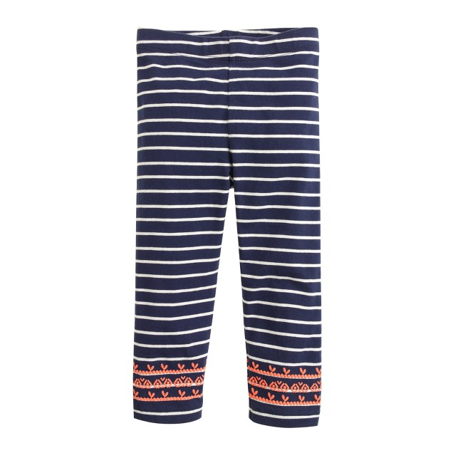 Girls' everyday capri leggings in embroidered stripe