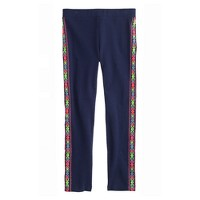 Girls' everyday leggings in embroidered tuxedo stripe