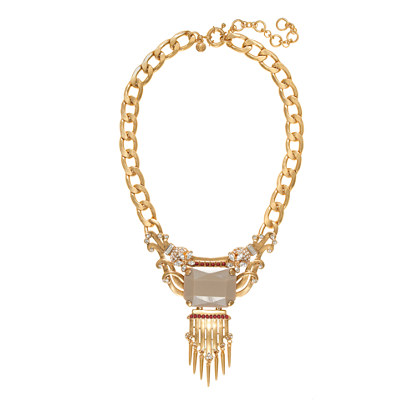 Statement stone fringe necklace