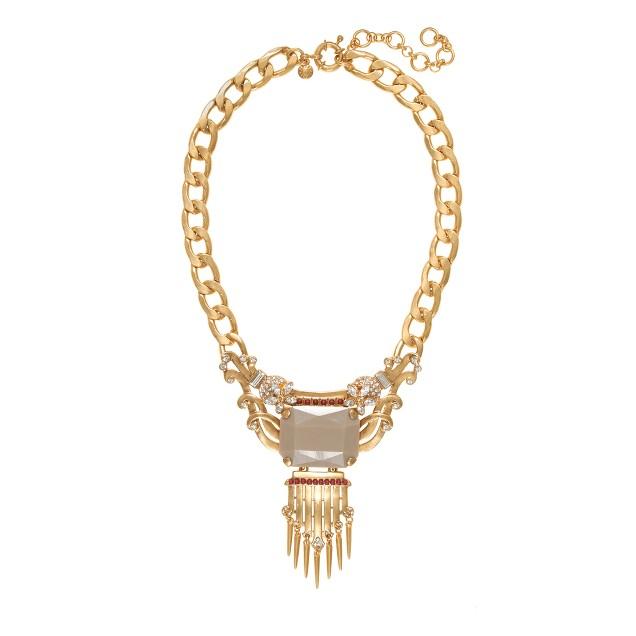 Statement stone fringe necklace