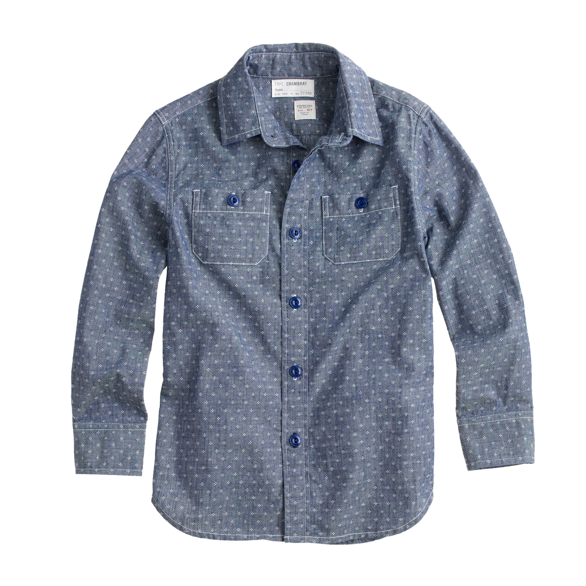 Boys 39 slim chambray shirt in embroidered dot j crew for Chambray 7 s