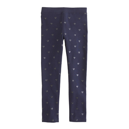 Girls' everyday leggings in glitter heart