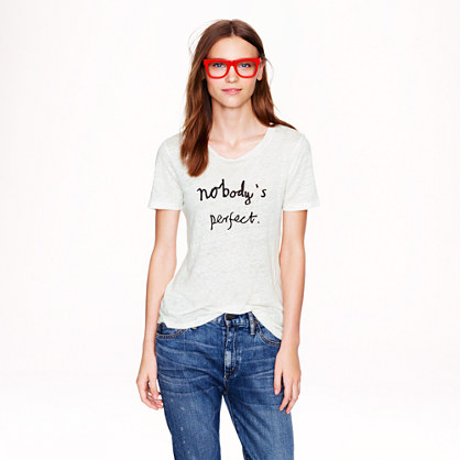 "Hugo Guinness for J.Crew ""nobody's perfect"" linen tee"