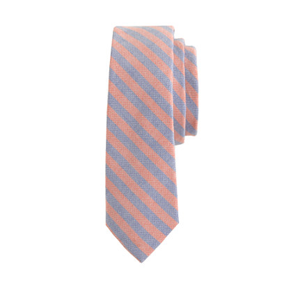 Boys' cotton tie in orange stripe