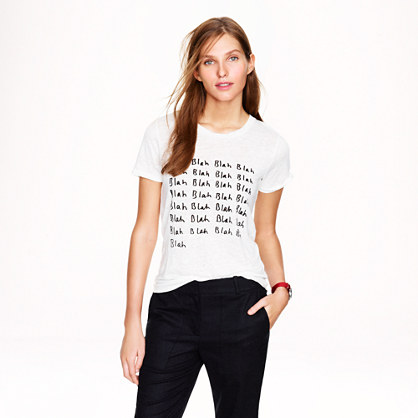 "Hugo Guinness for J.Crew ""blah blah"" linen tee"