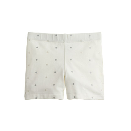 Girls' tumble short in glitter pindot