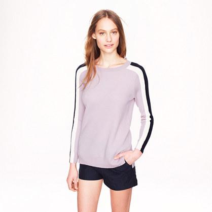 Stripe-sleeve merino wool sweater