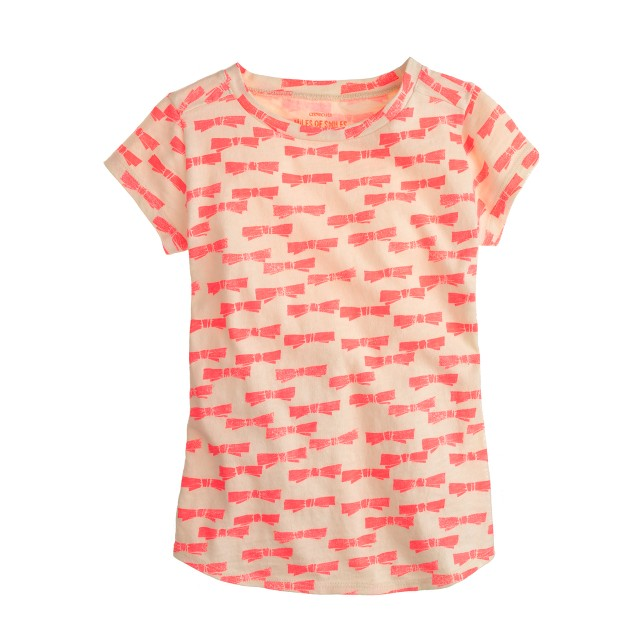 Girls' neon bow T-shirt