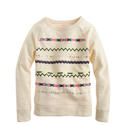 Girls' embroidered stripe sweatshirt