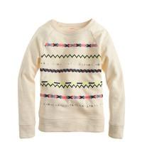 Girls' embroidered stripe sweatshirt