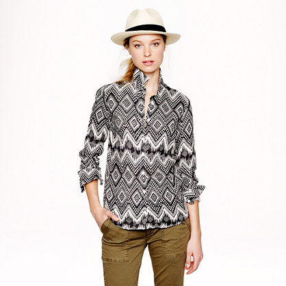 Linen boy shirt in diamond ikat