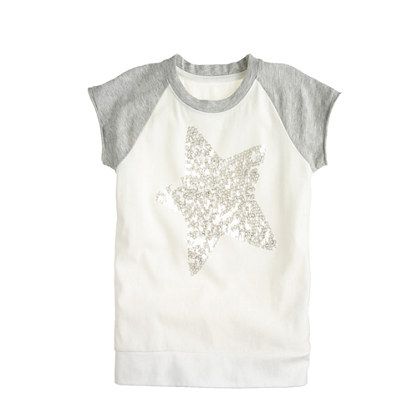 Girls' sequin star baseball T-shirt