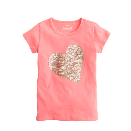 Girls 39 sequin heart t shirt short sleeve t shirts j crew for Girls sequin t shirt
