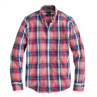 Slim Indian cotton shirt in rose tile plaid