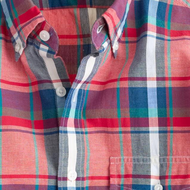 Slim Indian cotton shirt in rose tile plaid