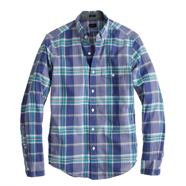 Slim Indian cotton shirt in misty ocean plaid