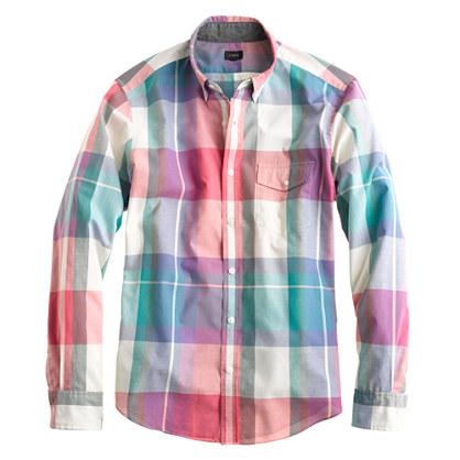 Slim Indian cotton shirt in muslin plaid