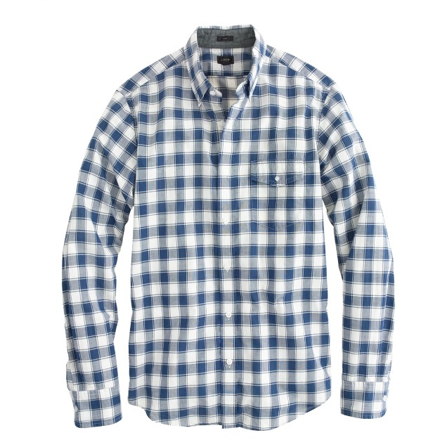 Slim Indian cotton shirt in Hudson navy plaid