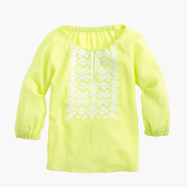 Girls' neon embroidered gauze top