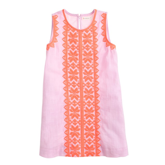 Girls' neon embroidered sundress