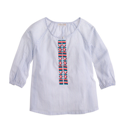 Girls' embroidered stripe tunic