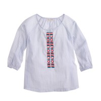 Girls' embroidered stripe tunic