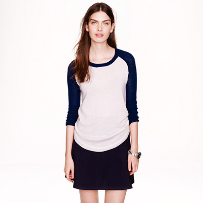 Merino wool mesh-sleeve sweater in colorblock