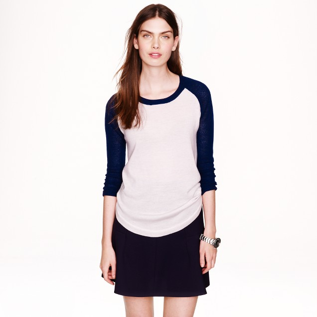 Merino wool mesh-sleeve sweater in colorblock