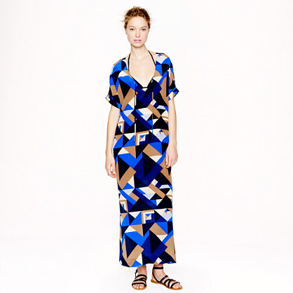 Geometric silk caftan dress